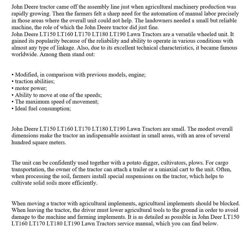 пример текста по тематике трактора. английский язык